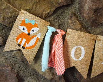 Bosque cumpleaños decoración chica, arbolado 1er cumpleaños partido, decoración de cumpleaños arbolado, arbolado Banner, Banner de trona de Fox, B514