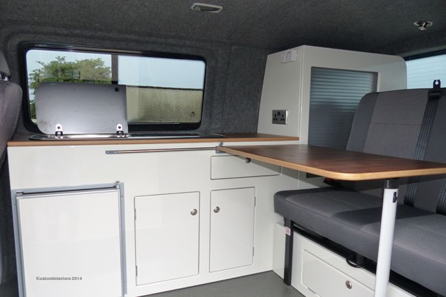 Kustom Interiors manufacture and design VW camper interiors for T2 Bay window, T3/T25, VW T4 & VW T5 transporters. Call us on 07910 838 649 for more info.