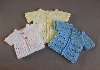 """This new premature baby design is for boys or girls...... in three premature sizes :) Little Jay ~ Premature Baby Cardigan JacketsSmall Premature BabyCardi ~ Width 12"""", Length 6"""" Med"""