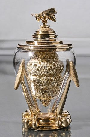 """Elizabeth Staiger Honey Home: Queen Bee Honey Dipper    Bronze, Silver Plating, Glass; Cast, Fabricated  10"""" x 5"""" x5"""""""