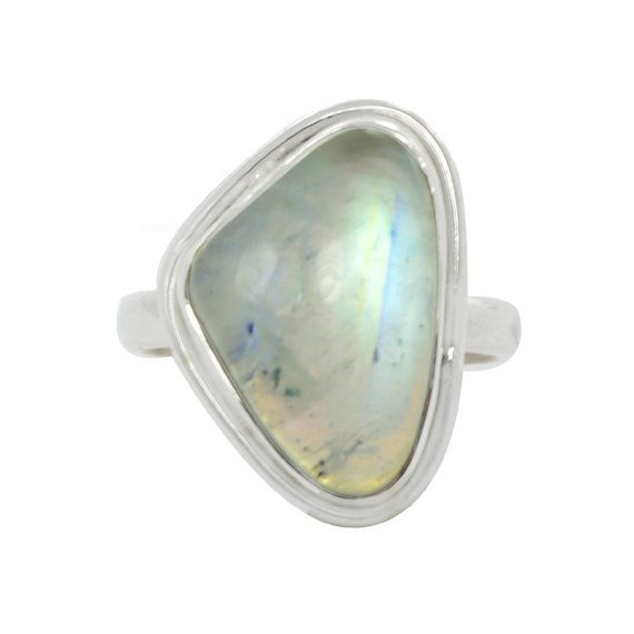 Summer offer:Get 25% discount Coupon-SUM15 Last day Triangle 925 Sterling Silver Ring Rainbow by DevmuktiJewels