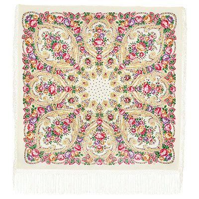 Multicolor dense wool Russian Pavlovo Posad Shawl Scarf