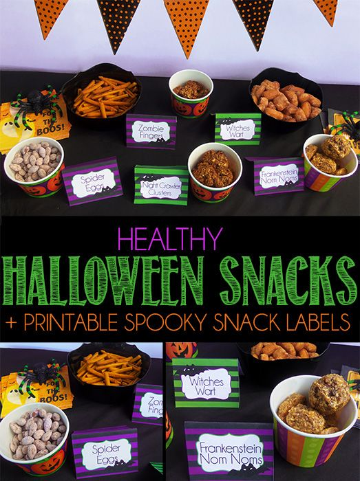Healthy Halloween Party Snacks with Printable Spooky Snack Labels!