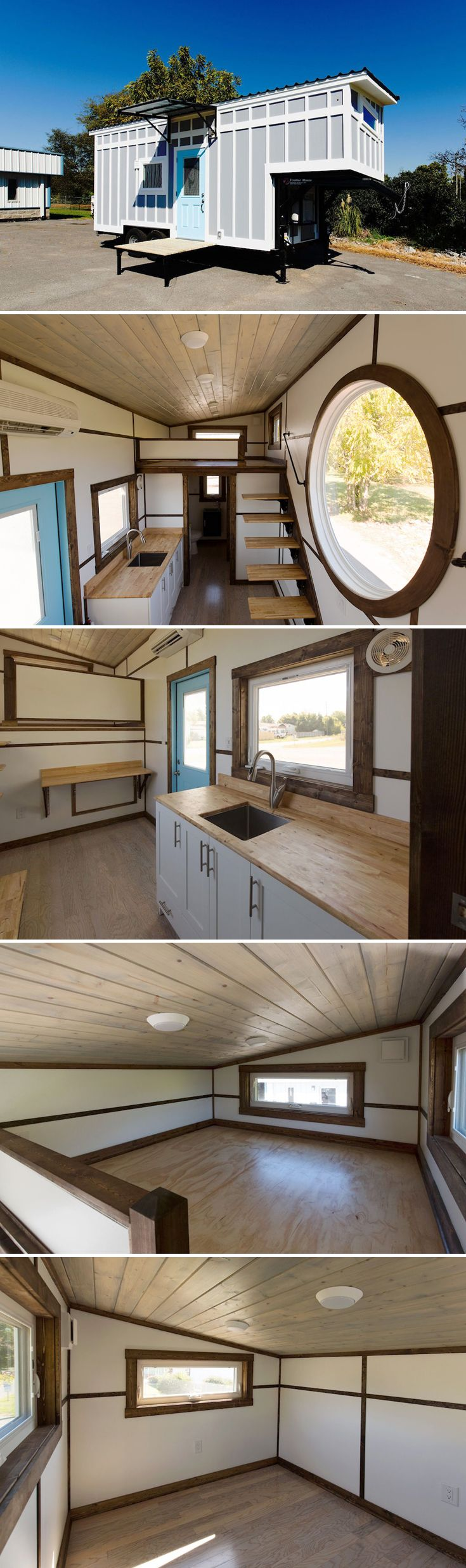 "Built by Tiny House Chattanooga, The View is a custom 20' gooseneck tiny house on wheels with large porthole window and ""V"" floating staircase."