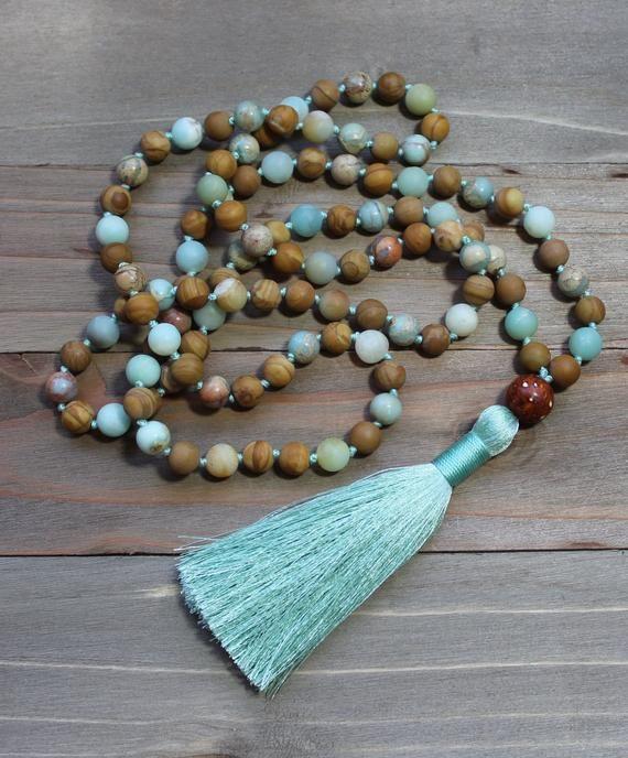 Amazonite Mala Necklace Amazonite Mala Amazonite Mala Beads