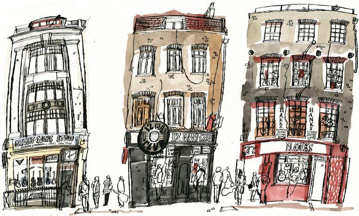 Guitar shops and the 12 Bar Club on London's Denmark Street.