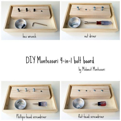 Love these DIY bolt boards by Midwest Montessori