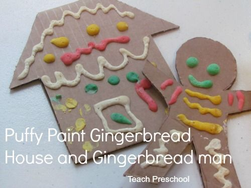 Gingerbread man and house puffy paint in the microwave
