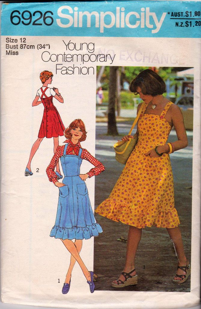1970s Sundress or Jumper Dress Pattern Simplicity 6926 Vintage Sewing Pattern Size 12 Bust 34 inches