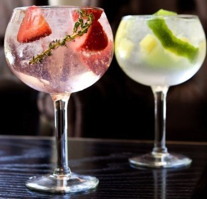 Lime and Strawberry-Thyme Gin & Tonics