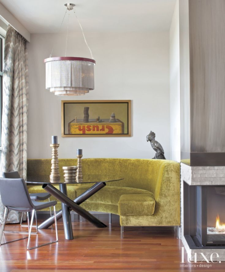 Chartreuse Sofa in Contemporary Dining Nook