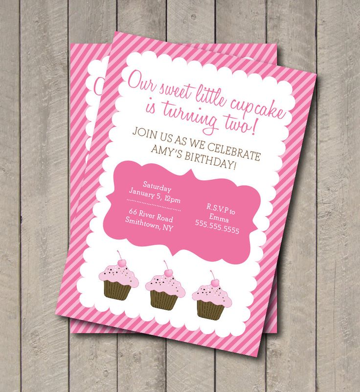 Cupcake Birthday Party Invite - Hot Pink & Light Pink Cupcake Invitation - Digital Printable Invite - Cupcake Invite by getthepartystarted on Etsy https://www.etsy.com/listing/160636192/cupcake-birthday-party-invite-hot-pink