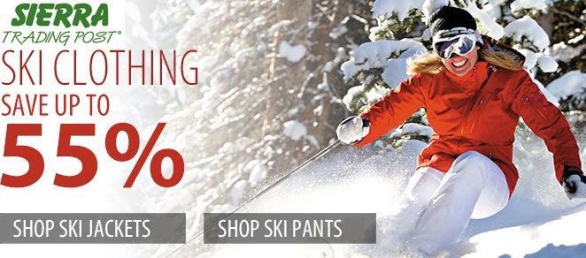 SAVE on SKI CLOTHING: Get up to 55% OFF Discount on shopping JACKETS and PANTS at Sierra Trading post. Find many more Discount Deals and Discount coupons at : Sierra trading post coupon 20%