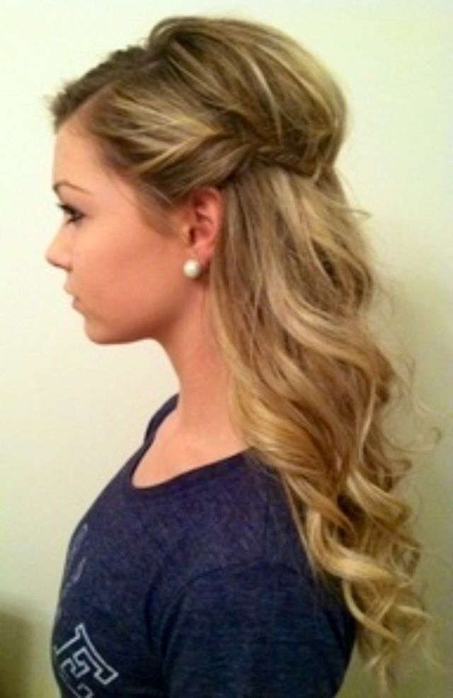 Half up hair (Braid on both sides, tie in middle while puffing the middle section up for more volumous look)