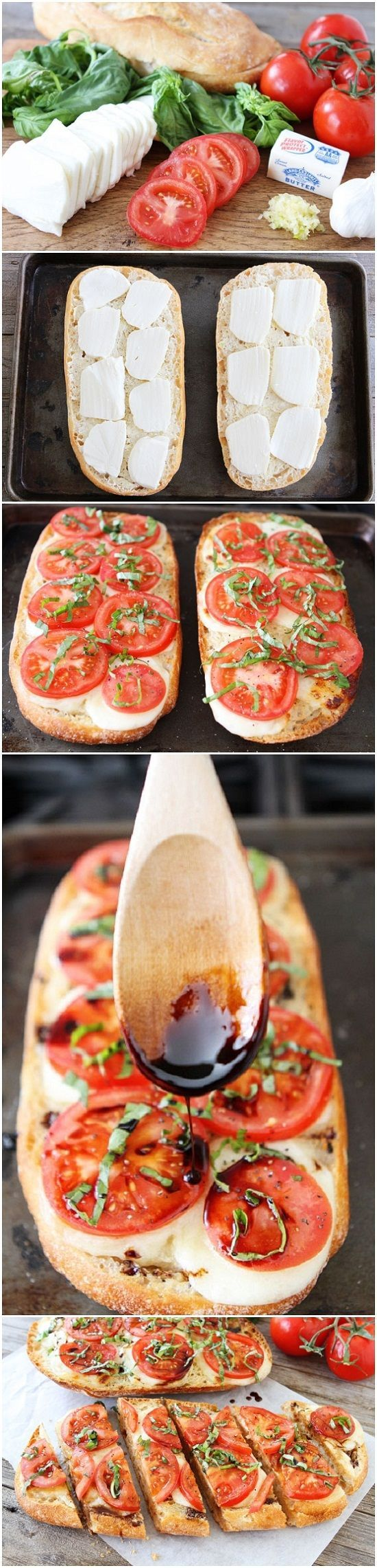 Caprese Garlic Bread - 1 loaf ciabatta bread, horizontally cut in half 4 tablespoons salted butter 3 cloves garlic, minced 12 oz. fresh mozzarella cheese, sliced 1/2 cup balsamic vinegar 2 medium tomatoes, sliced Salt and freshly ground black pepper, to taste 1/3 cup chopped fresh basil
