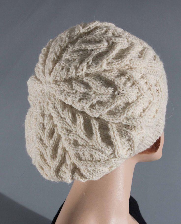 Bérêt blanc à points torsadés, pure laine pour femme : Chapeau, bonnet par ptites-laines-creations