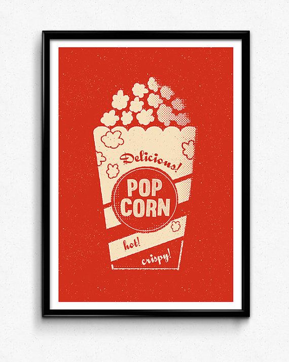 Mid Century Kitchen Print Retro Popcorn Cinema Box by FoxAndVelvet