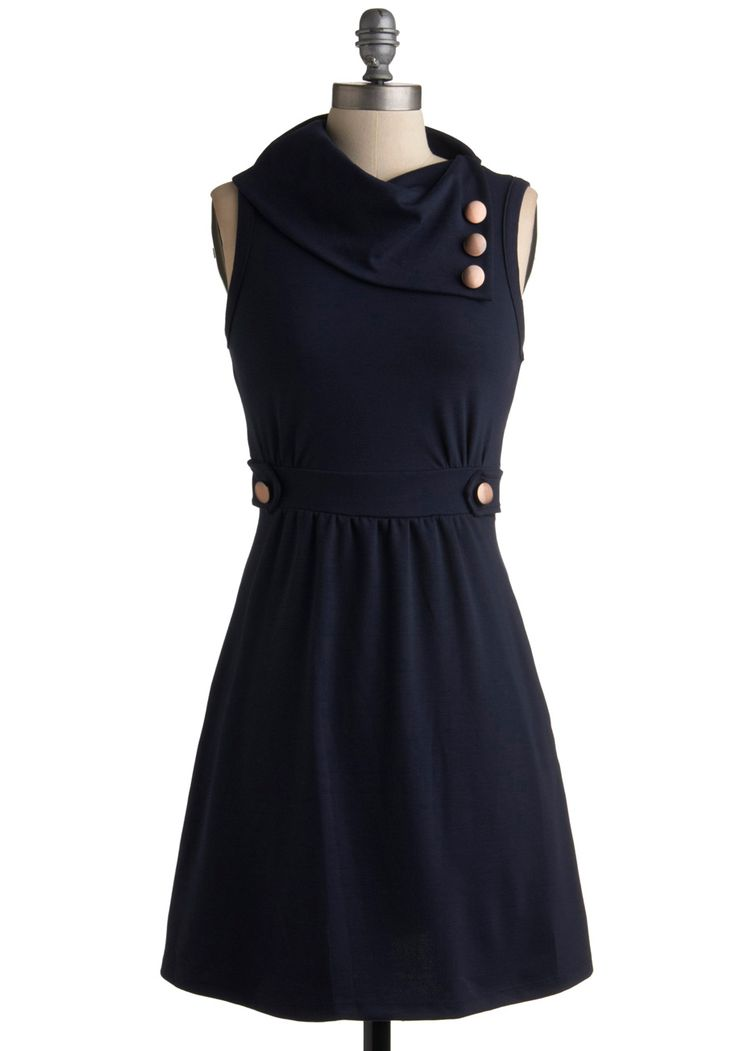 Coach Tour Dress in Bleu - Solid, Buttons, A-line, Sleeveless, Blue, Work, Casual, Spring, Fall, Mid-length