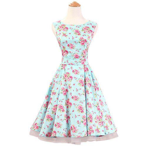 J.L.I Audrey Hepburn Style Floral Summer Elegant 50's Dress S-2XL 10…