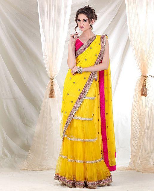 Meena Bazaar - Lehenga Saree with Net Ghera and Georgette Embroidery pallu at BigIndianWedding.Com, via Flickr.