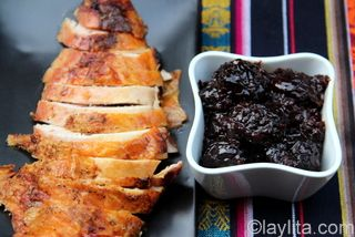 Christmas prune sauce with turkey