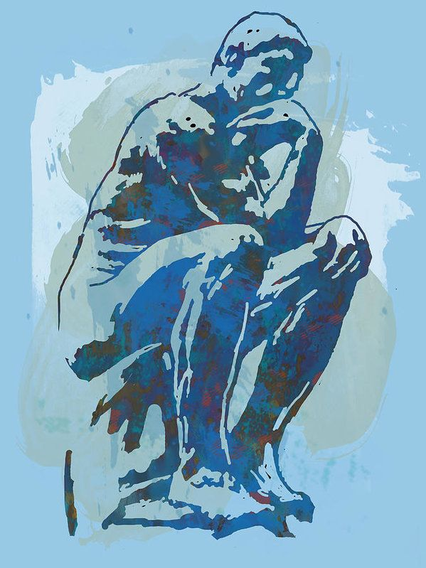 The Thinker Is A Bronze Sculpture By Auguste Rodin Print featuring the drawing The Thinker - Rodin Stylized Pop Art Poster by Kim Wang