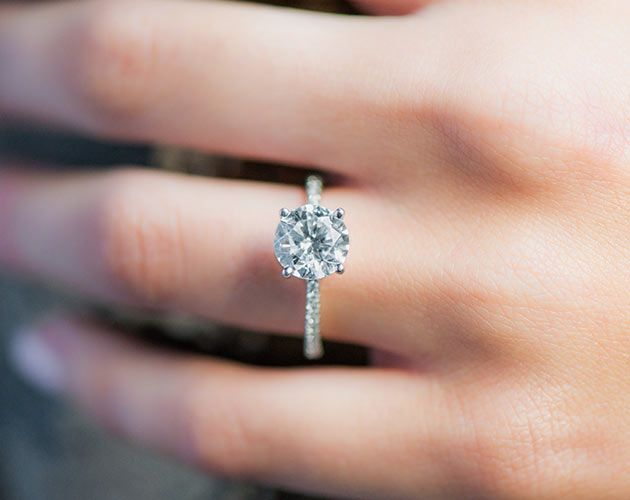 engagement rings, pave, 14k white gold petite pave engagement ring item 56255
