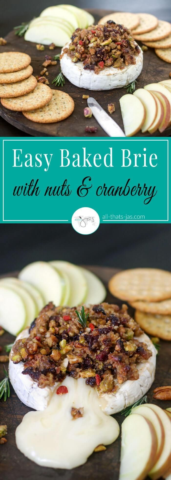 Easy appetizer perfect for holidays or snacking, this oven baked brie is topped with glazed nuts and dried cranberry and served with apple slices and crackers. | allthatsjas.com | #briecheese #bakedbrie #appetizer #partyfood #holidayfood #glutenfree #nuts #Cranberry #snacks #cheesespread