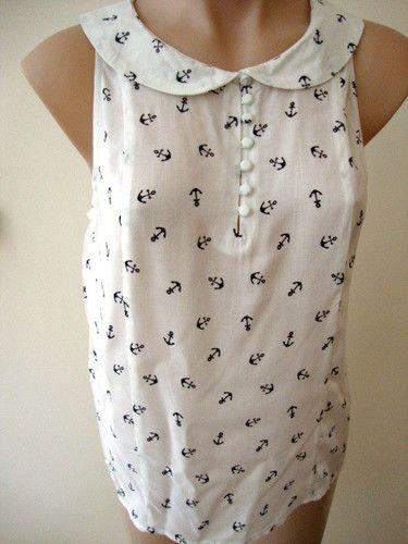 size 8 SASS nautical ANCHOR print cami tunic top sleeveless shirt WHITE   eBay