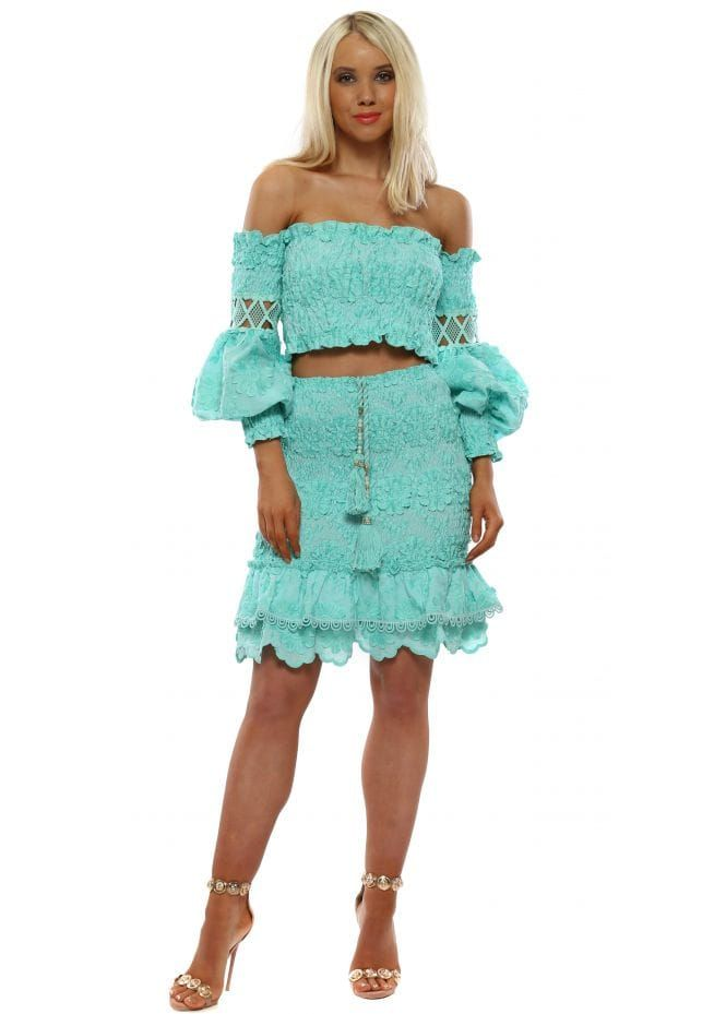 d3a7b82a7 LAURIE & JOE Turquoise Cropped Top & Skirt Set   Laurie & Joe in ...