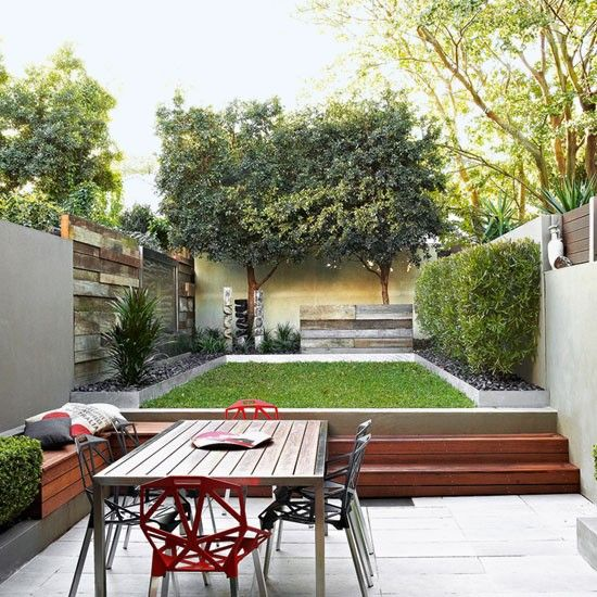 Eclectic courtyard  Add depth and interest to your space by mixing textures. The walls in this split-level courtyard are built from recycled wooden planks in contrast to the galvanised steel edging that delineates the space. The reflective quality of the edging also helps to create a sense of length. Timber seating in the patio area contains handy storage.