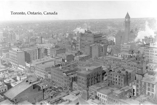 CCT0004 - Downtown Toronto c1915. Looking northwest from the top of the Canadian Imperial Bank of Canada Building on King between Bay and Yonge. (Old) City Hall on right.