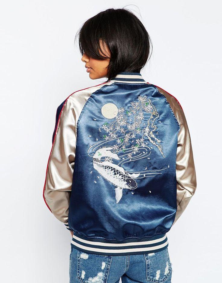 Image 2 ofASOS Premium Embroidered Bomber Jacket with Tipped Rib