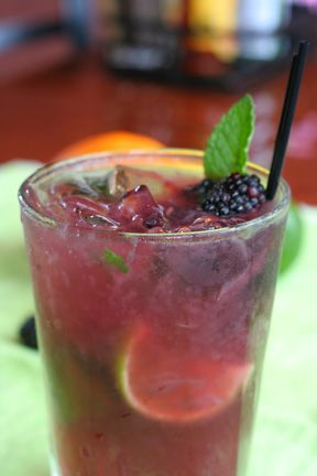 blackberry firefly tea from Longhorn Steakhouse. 3oz Firefly sweet tea vodka, 3oz cranberry juice, 1oz Torani blackberry syrup.