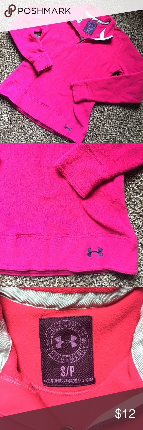Pink under armour hoodie Pink under armour hoodie, half zip, fleece material, great condition!!! No stains, rips or tears. Pet free and smoke free home! Under Armour Tops Sweatshirts & Hoodies