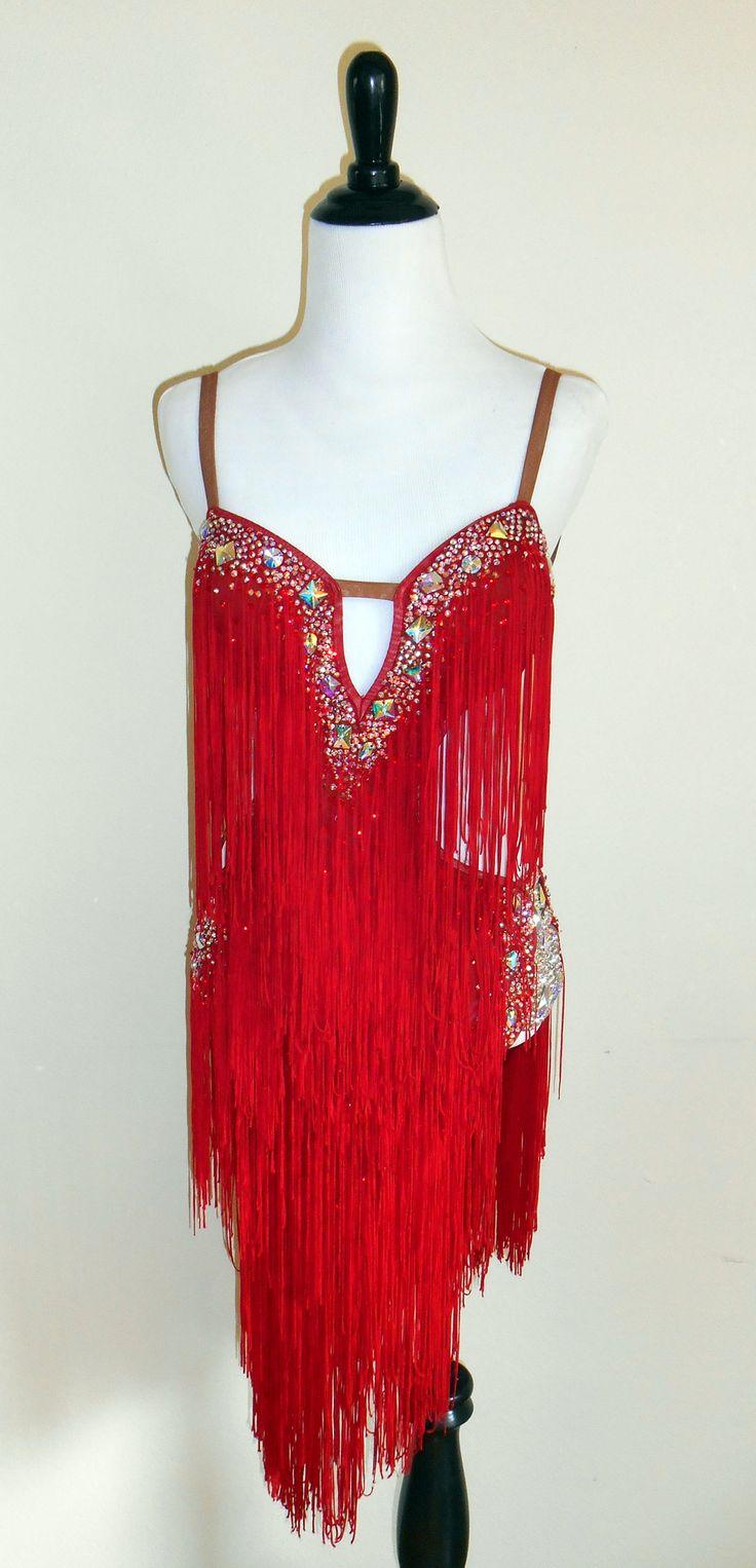 Dore Designer Rhythm Latin Dress With Red Fringe Skirt