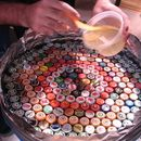 DIY Resin covered bottle cap table- man cave, unc design?