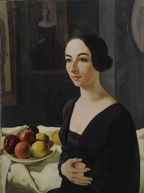 """Portrait of Hena Rigotti (1924) by Felice Casorati (1883-1963), Italian - His work distinguished by unusual perspective effects. He drew inspiration from Renaissance masters (especially Piero della Francesca). His early works were naturalistic in style, but after 1910 he was influenced by the visionary style of the Symbolists. His works of the 1920's typify the """"return to order"""" prevalent in the arts as a reaction to the war, in their emphasis on geometry and formal clarity (wiki)…"""