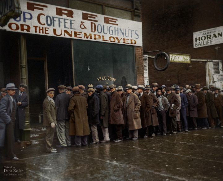 Unemployed men outside Al Capone's soup kitchen in Chicago during the Great Depression, (1931) (Colorized)