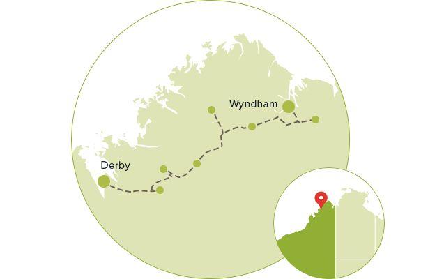 Map of itinerary - Gibb River Road, WA