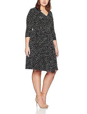 22 (Manufacturer Size:22/24), Black, Evans Women's Polka Dot Wrap Dress NEW