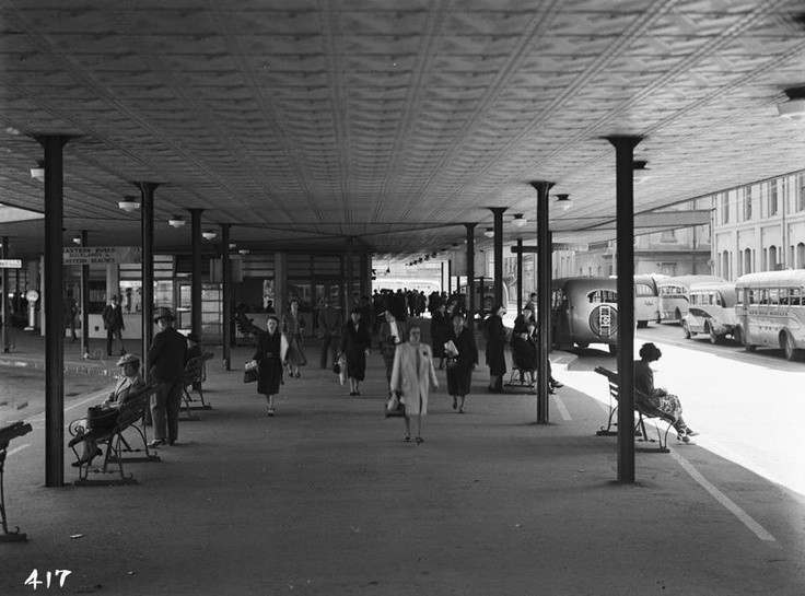 Showing the interior of the Downtown Bus Terminal now known as the Britomart Transport Centre, back of buldings in Quay Street (far left)