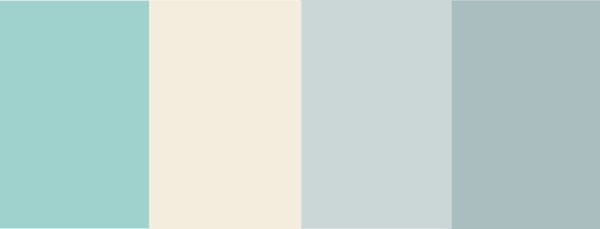 """Paint colors from Farrow & Ball """"Blue Ground"""", """"White Tie"""", """"Parma Grey"""", """"Lulworth Blue"""""""