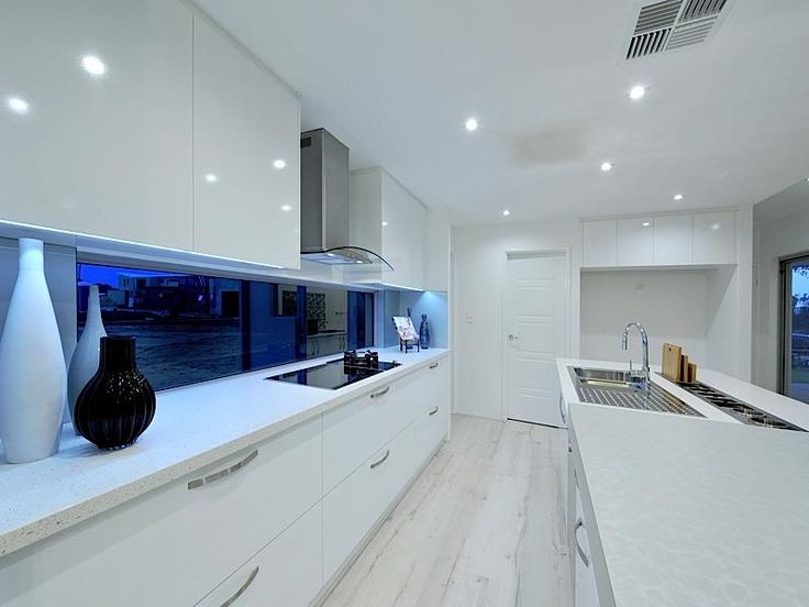 White Kitchen No Handles window splashback, no handles on top cupboards | interior