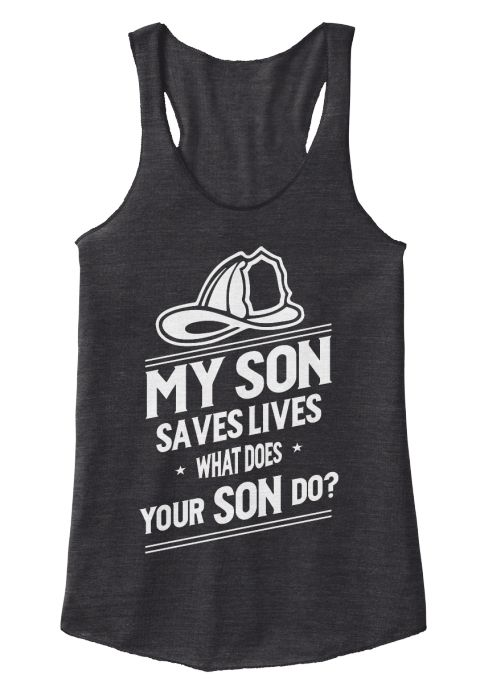 My Son Saves Live Firefighter's Mom Tank Eco Black Women's Tank Top Front