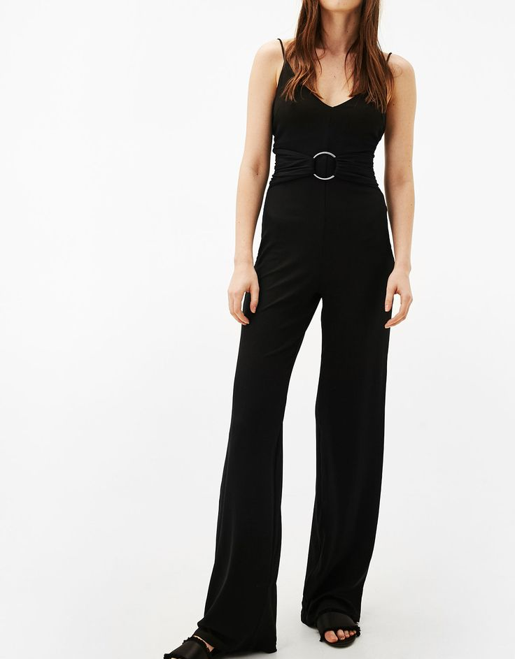Long ribbed jumpsuit with belt. Discover this and many more items in Bershka with new products every week
