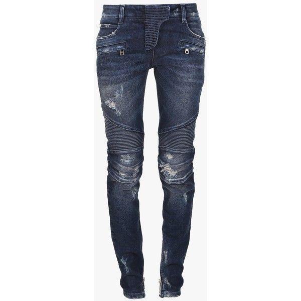 Balmain Trash distressed stretch cotton denim biker jeans (16 290 ZAR) ❤  liked on