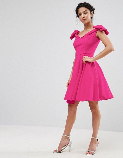 Asos - Petite - John Zack Petite Off Shoulder Mini Dress With Bow Sleeve Detail in hot pink | sweetheart neck, fit and flare skater dress style, sleeveless with bow details at the shoulders.