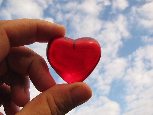 Valentine´s day! LOVE, LOVE, LOVE Red heart with blue sky.