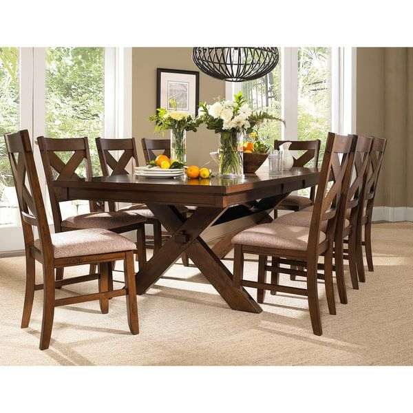 9 Piece Solid Wood Dining Set with Table and 8 Chairs